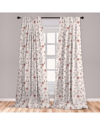 "Hippo Room Darkening Rod Pocket Curtain Panels East Urban Home Size per Panel: 28"" x 84"""