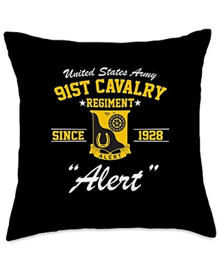 Army Cavalry Tees For All 91st Cavalry Regiment Throw Pillow, 18x18, Multicolor