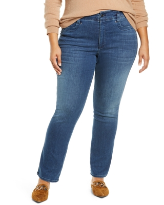 NYDJ Marilyn Hollywood High Waist Straight Leg Jeans, Size 16W in Saybrook at Nordstrom