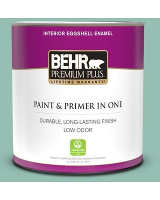 Here S A Great Deal On Behr Premium Plus 1 Qt Ppu12 07 Spring Stream Eggshell Enamel Low Odor Interior Paint And Primer In One