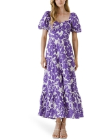 Free the Roses Floral Print Cotton Maxi Dress, Size Large in Purple Multi at Nordstrom