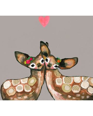 """GreenBox Art Fawn Love by Eli Halpin Painting Print on Wrapped Canvas GNBX2497 Size: 24"""" H x 24"""" W x 1.5"""" D Color: Pink"""