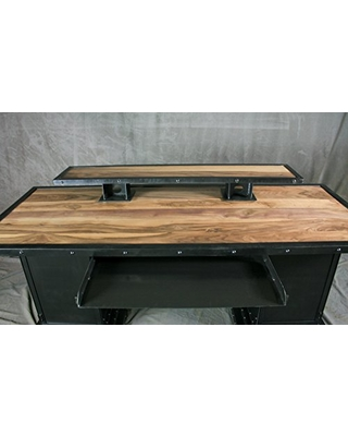 Combine 9 Industrial Desk with Riser and Storage Bases. Executive Desk.  Walnut Wood and Steel. Reclaimed Wood Available. Custom. Handmade. Office  ...