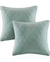 "Seafoam Vancouver Microfiber Quilted Throw Pillow Pair (20""x20"")"