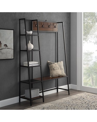 Manor Park Modern Hall Tree with 5-Shelves and Bench, Dark Walnut