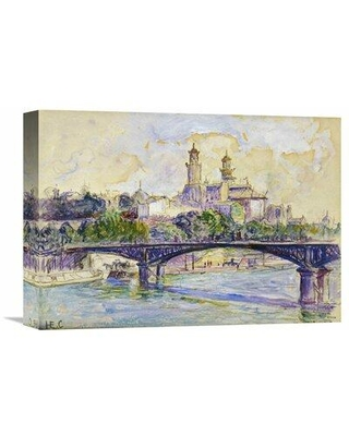 "Global Gallery 'The Seine in front of The Trocadero' by Henri Edmond Cross Painting Print on Wrapped Canvas GCS-264761- Size: 11.42"" H x 16"" W x 1.5"" D"