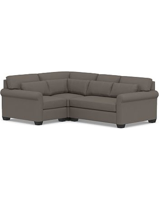 York Roll Arm Upholstered Deep Seat Right Arm 3-Piece Corner Sectional with Bench Cushion, Down Blend Wrapped Cushions, Performance Heathered Tweed Graphite