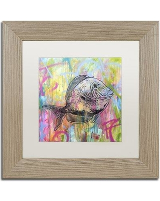 """Trademark Art 'Blue Tang' by Dean Russo Framed Graphic Art ALI2635-T1 Size: 11"""" H x 11"""" W x 0.5"""" D Matte Color: White"""