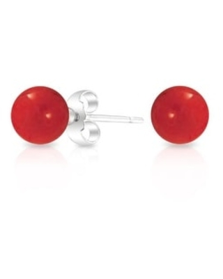 Simple 8MM Gemstone Round Bead Ball Stud Earrings For Women For Teen 925 Sterling Silver Birthstones More Colors (Dark Red)