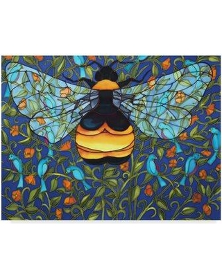"Trademark Art 'Bee and Blue Birds' Acrylic Painting Print on Wrapped Canvas ALI29684-CGG Size: 24"" H x 32"" W x 2"" D"