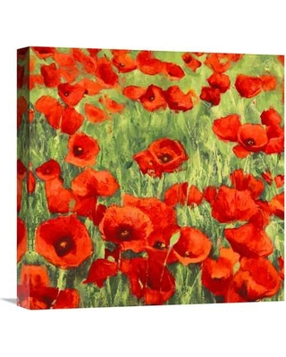 """Global Gallery 'Poppies' by Silvia Mei Painting Print on Wrapped Canvas GCS-456444- Size: 18"""" H x 18"""" W x 1.5"""" D"""