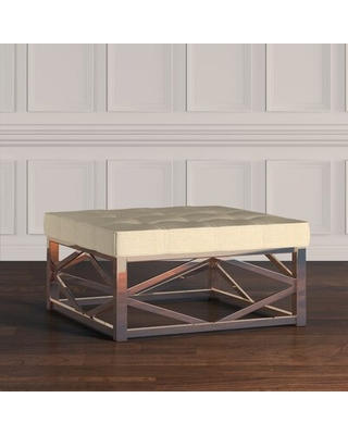 Amazing Savings On Acevedo 38 Wide Tufted Square Standard Ottoman Three Posts Upholstery Heathered Beige Linen Color Champagne Gold