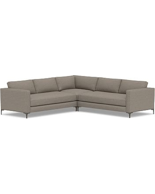 Jake Upholstered 3-Piece L-Shaped Corner Sectional with Bronze Legs, Polyester Wrapped Cushions, Performance Chateau Basketweave Light Gray