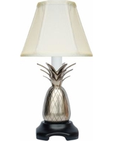 Wethersfield Pewter Pineapple Table Lamp with Off-White Shade