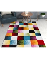 "Well Woven Viva Gateway Squares Blue/Pink Area Rug VI180- Rug Size: Rectangle 7'10"" x 9'10"""