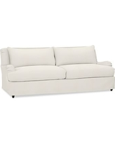 "Carlisle Slipcovered Grand Sofa 90.5"" with Bench Cushion, Polyester Wrapped Cushions, Denim Warm White"