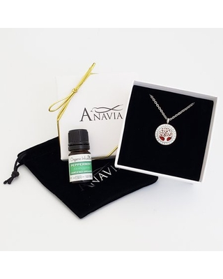 Anniversary Day Jewelry Tree of Life Gift Set Gift for Her Wife Fiance Essential Oil Diffuser Crystal Necklace & Organic Essential Oil Aromatherapy Birthday - Silver Necklace & Peppermint Oil