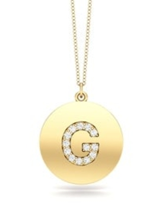 """Noray Designs 14K Gold Diamond (0.07Ct, G-H Color, SI2-I1 Clarity) A-Z Alphabet Initial Pendant, 18"""" Gold Chain (G - Yellow)"""