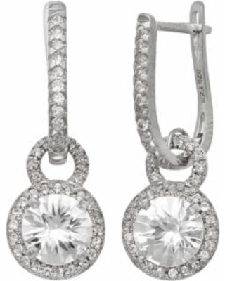 Sterling Silver Lab-Created White Sapphire Halo Drop Earrings, Women's