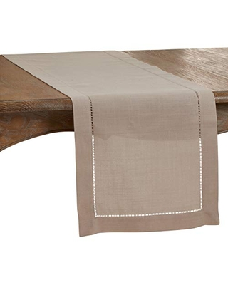 """SARO LIFESTYLE Rochester Collection Table Runner with Hemstitched Border, 16"""" x 90"""", Taupe"""