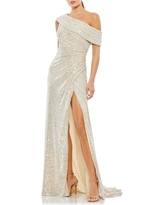 Mac Duggal Metallic One-Shoulder Sheath Evening Gown, Size 2 in Nude at Nordstrom