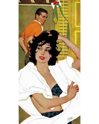 """Marmont Hill Vintage Fashion The Husband Hunter by Robert Jones Painting Print on Wrapped Canvas MH-FASGLM-104-C Size: 24"""" H x 12"""" W x 1.5"""" D"""