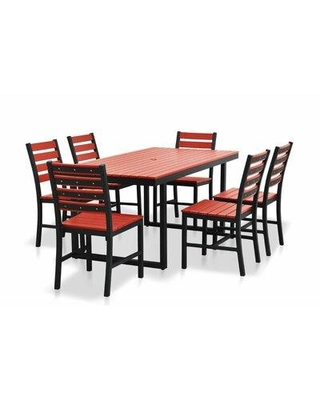 Longshore Tides Alissa Outdoor Rectangular 7 Piece Dining Set X112551419 Frame Color: Black Top Color: Bright Red