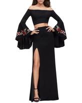 La Femme Off the Shoulder Long Sleeve Two-Piece Gown, Size 2 in Black at Nordstrom