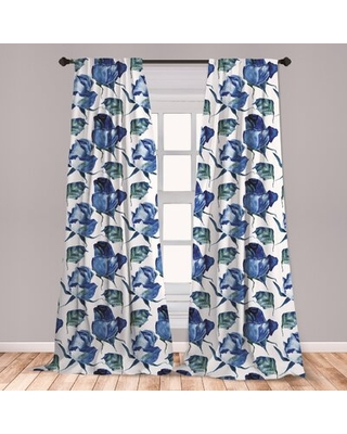 Ambesonne Watercolor Window Curtains, Hand Drawn Roses And Leaves Abstract Floral Blooming Nature Theme, Lightweight Decorative Panels Set Of 2 With R