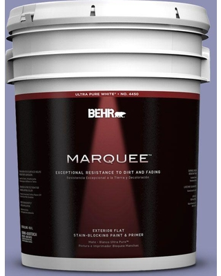 BEHR MARQUEE 5 gal. #630D-5 Wild Wisteria Flat Exterior Paint and Primer in One