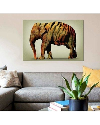 "East Urban Home 'Tiger Elephant' Graphic Art Print on Canvas EBHT1003 Size: 8"" H x 12"" W x 0.75"" D"