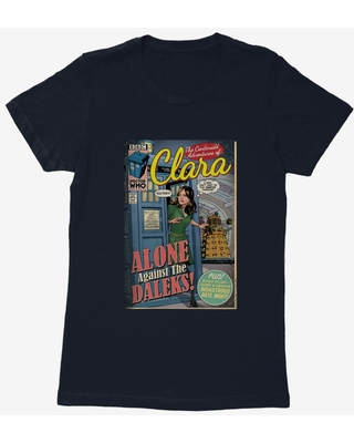 Doctor Who Clara Alone Against Daleks Comic Womens T-Shirt