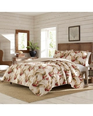 Tommy Bahama Tanzania Cotton Reversible Beige Quilt Set (Full - Queen)