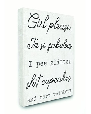 Stupell Industries Girl Please Glam Funny Wood Textured Word Design Canvas Wall Art by Daphne Polselli
