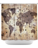 DiaNocheDesigns Whimsical World Map Shower Curtain SHO-AngelinaVickWhimsicalWorldMap Color: Brown