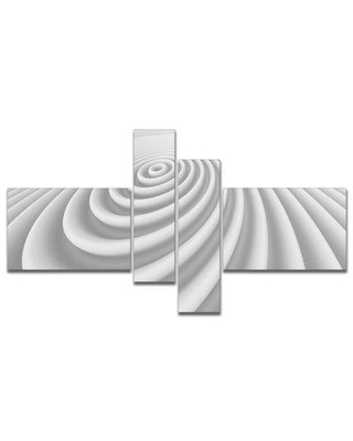 East Urban Home 'Fractal Rounded White 3D Waves' Graphic Art Print Multi-Piece Image on Canvas EUHG9914