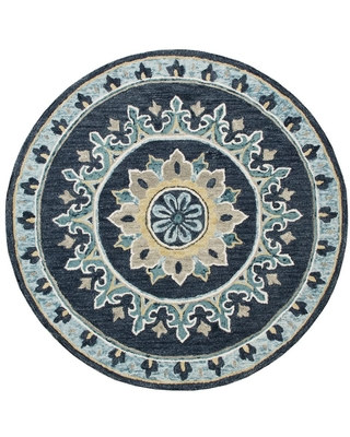LR Home Gardens Navy Blue/Yellow 5 ft. Round Floral Medallion Border Wool Area Rug, Navy Blue / Yellow
