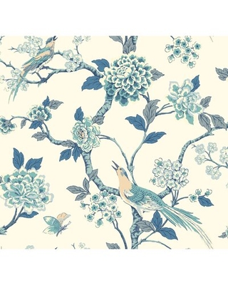 """Frazier Fanciful 27' L x 27"""" W Wallpaper Roll August Grove® Color: Blue/White"""