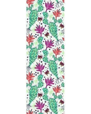 "Bungalow Rose Garold Removable Cactus 8.33' L x 25"" W Peel and Stick Wallpaper Roll W000546118"