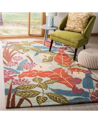 Bay Isle Home Dixie Hand-Hooked Wool Red/Blue Area Rug BAYI4134 Rug Size: Rectangle 5' x 8'