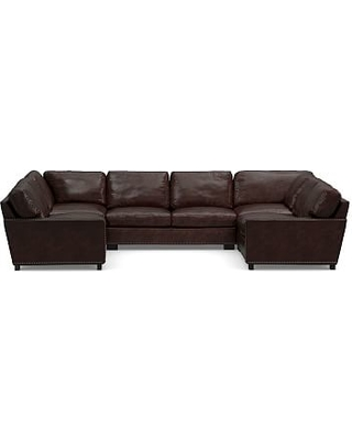 Turner Square Arm Leather 5-Piece U-Shaped Sectional with Bronze Nailheads, Down Blend Wrapped Cushions, Legacy Tobacco