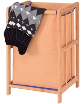 Costway Bamboo Frame Laundry Hamper Durable Cloth Bag Clothes Storage (Fabric)