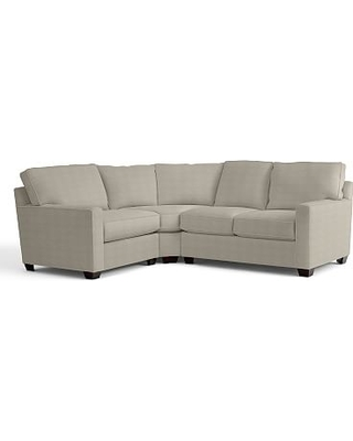 Buchanan Square Arm Upholstered Right Arm 3-Piece Wedge Sectional, Polyester Wrapped Cushions, Performance Heathered Tweed Pebble