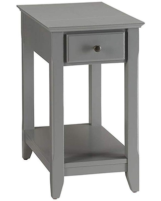 Benjara Gray Rectangular Wooden Side Table with 1 Drawer and Open Bottom Shelf