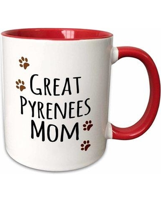 "East Urban Home Great Pyrenees Dog Mom Coffee Mug W000544267 Size: 3.75"" H x 4"" W x 3"" D Color: Red"