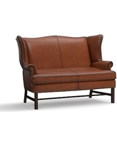 Thatcher Leather Settee, Polyester Wrapped Cushions, Burnished Saddle