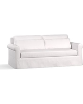 """York Roll Arm Slipcovered Deep Seat Sofa 84"""" with Bench Cushion, Down Blend Wrapped Cushions, Twill White"""