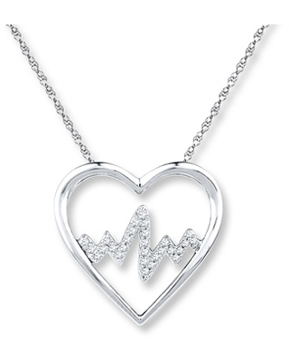 Heartbeat Necklace 1/10 ct tw Diamonds Sterling Silver