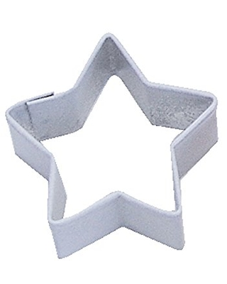 R&M Mini Star Cookie Cutter White With Brightly Colored, Durable, Baked-on Polyresin Finish