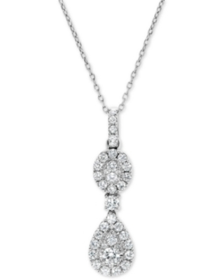 """Diamond Double Halo Cluster 18"""" Pendant Necklace (5/8 ct. t.w.) in 14k White Gold"""